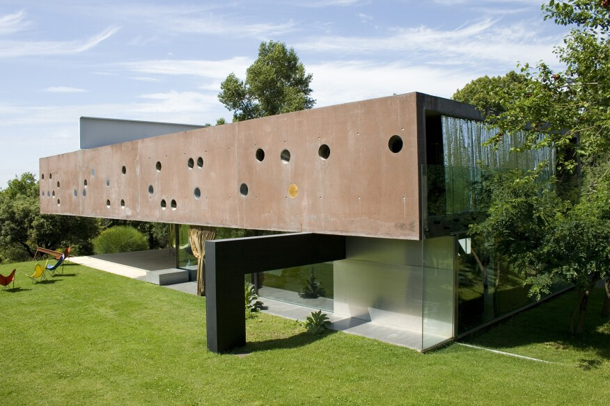 "The Bordeaux residence, designed by Rem Koolhaas for Lemoine's father, depicted in ""Koolhaas Houselife."""