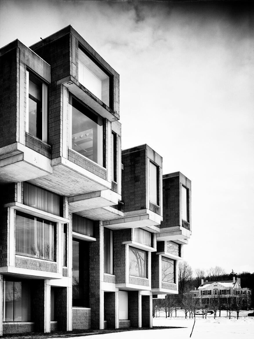 The Brutalist building is known for its assemblage of jutting boxes.