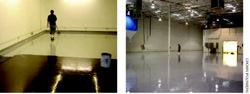 The concrete surface shines after the high-gloss ESD topcoat is applied and completed.