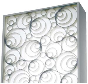 Catacaos SconceBoyd Lightingwww.boydlighting.com  Fixture measures 16.5 by 10 inches and projects 4 inches from the wall - Decorative grille and frame in matte white with a white acrylic front diff user - UL listed for damp locations - Takes fluorescent lamps - ADA compliant at any mounting height - Can be mounted horizontally or vertically