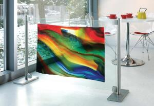 "Lamberts Art Glass from Bendheim is a series of unique, mouth-blown glass sheets. Multiple options are available, including solid colors and patterns that incorporate color streaks and cracked textures. Maximum glass sheet size is 24"" by 36"". Sheets are approximately 1/8"" thick. ¢ bendheimartglass.com"