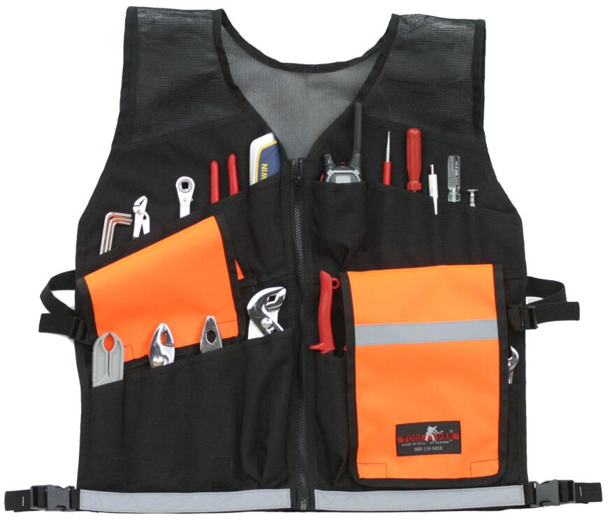 Paktek's zip-up Toolpak ToolVest has a multitude of pockets and can expand up to 62 inches.