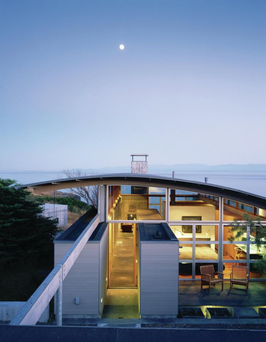 Completed in 2001, the 1,300-square-foot American Camp is sited on a hillside on San Juan Island.