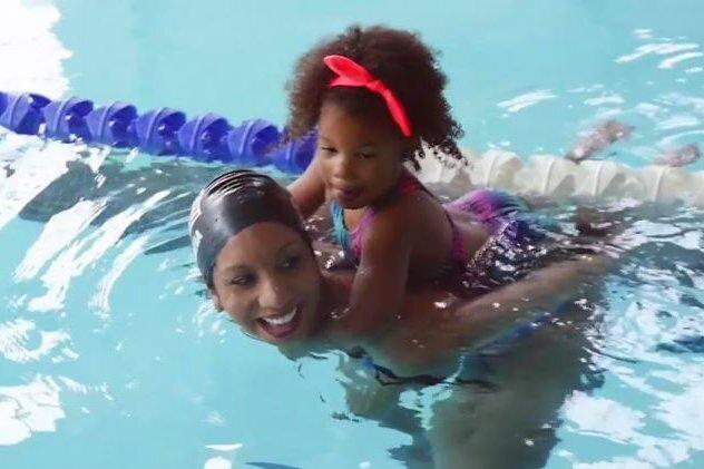 Black kids swimming
