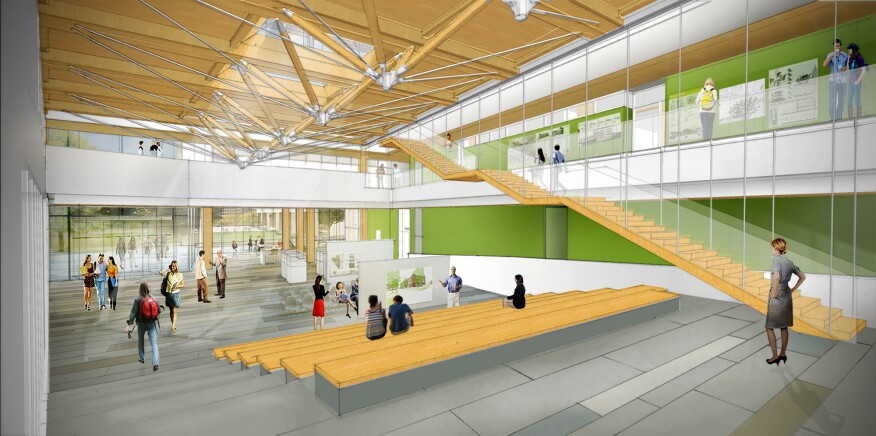 The Design Building at UMass Amherst will support collaboration among the departments of landscape architecture, architecture, and building technology. It makes extensive use of cross-laminated timber.