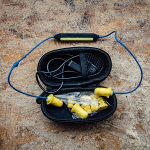 The PlugFones Liberte come with replaceable earplug tips of varying sizes and styles, as well as a case and charger. They sell for $99 online and are available in yellow/blue (shown here), gray/black and orange/blue.