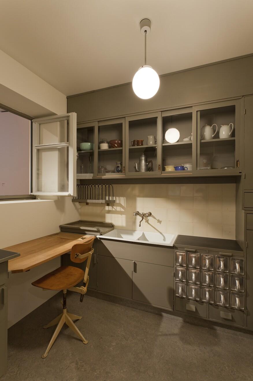 Frankfurt Kitchen from the Ginnheim-Höhenblick Housing Estate, in Frankfurt am Main, Germany, designed by Margarete Schütte-Lihotzky between 1926 and 1927.