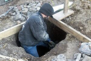 After locating all the footings, I generally dig the holes by hand.