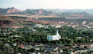 Mormon leader Brigham Young had a winter home in St. George, where he spent his last years directing the construction of the first temple in Utah (at center), completed in 1877.