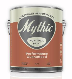 Exterior Flat Paint  Mythic Paint mythicpaint.com Acrylic paint - Zero VOCs and zero carcinogens - Low odor - Can be used on previously painted or primed surfaces such as vinyl, aluminum, wood siding, clapboard, shakes, shingles, shutters, and fencing - Comes in a wide variety of colors and any color can be matched