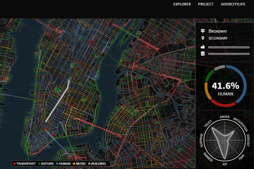 A screenshot of the Chatty Maps online interactive for New York, one of 12 metros mapped by global research team GoodCityLife according to street-level noise.