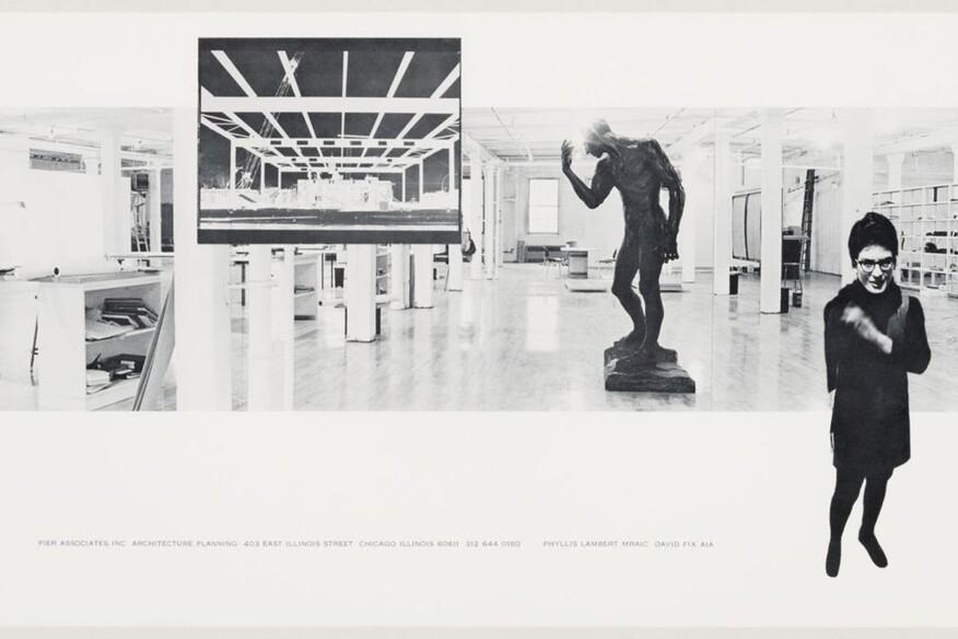 Pier Associates. Composite photograph of Phyllis Lambert and David Fix in their studio, 403–409 East Illinois Street, Chicago, c. 1970, Reproduction. Phyllis Lambert fonds, CCA. © Pier Associates