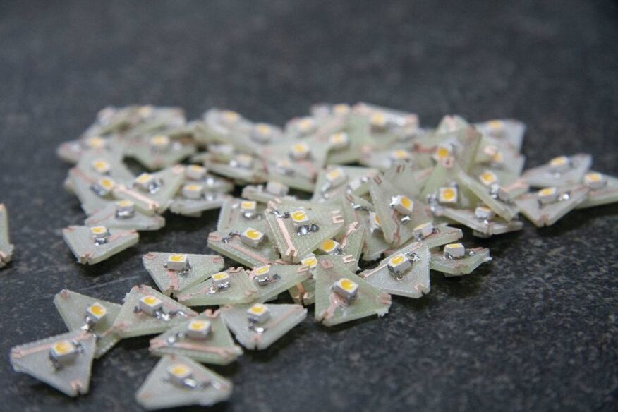 Starlight features 10,486 LEDs, each of which is custom assembled on a triangular circuit board.