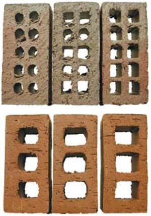 These photos show a 10-hole brick cored with 22%, 30%, and 34% void; and a 3-hole unit cored with 25%, 32%, and 35% void.