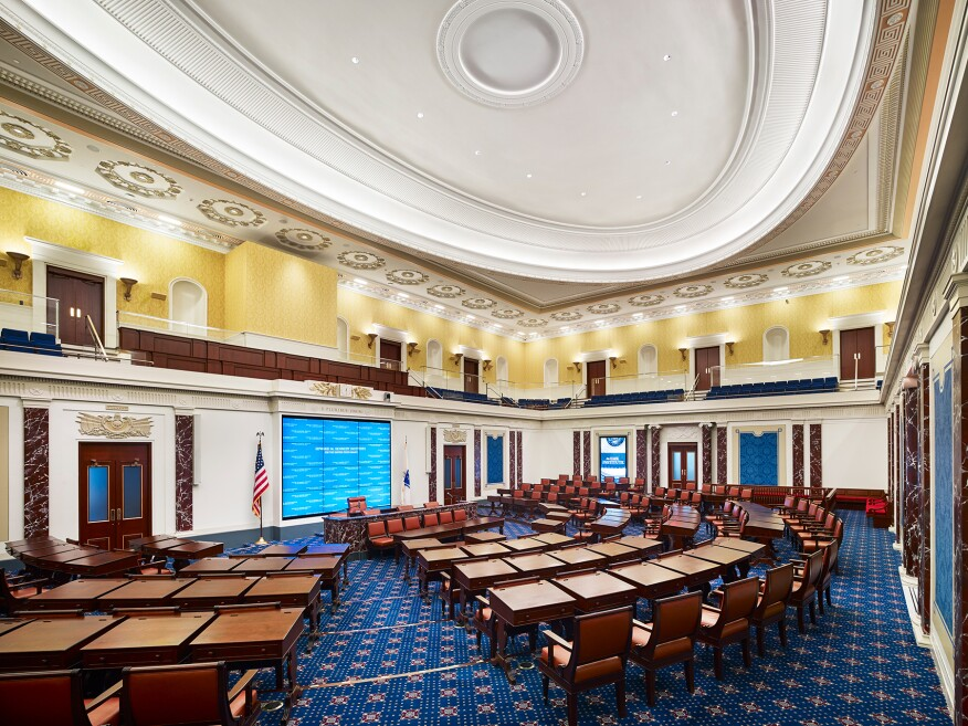 The Senate chamber replica.