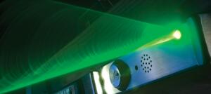 In an emergency, Beacon from Assa Abloy leads the way toward a safe exit. The device connects to a building's fire alarm system and helps occupants exit through the use of audio and visual alerts. Pulsing light combines with white noise, followed by verbal instructions indicating exit locations in one or more languages. In the sequence's final phase, a green laser beam highlights the exit.  assaabloydss.com