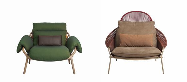 French manufacturer Roche Bobois and New York designer Stephen Burks collaborated on the design of two lounge chairs.