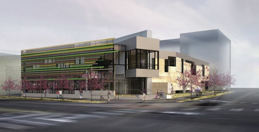 The West Denver Branch Library, designed by Studiotrope Design Collective. The project  is being constructed on Denver's west side on land the nonprofit Urban Land Conservancy acquired as part of its affordable housing initiative.