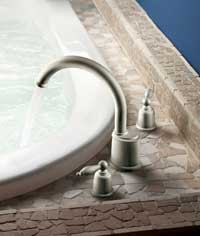 FIT 'N FINISH: Castleby, Moen's popular bath (and kitchen) collection, has a unique styling that speaks to the past. But its brushed nickel finish, new to the Castleby line this year, definitely speaks to the present. The brushed nickel finish is available in the full bath suite, including the high-arc Roman tub faucet.