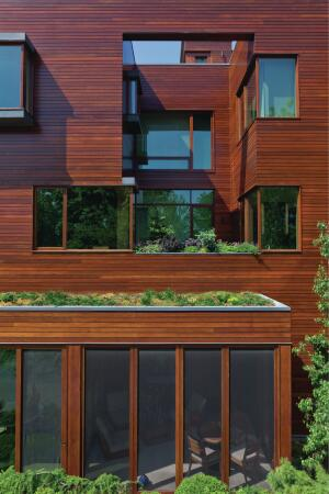 The bay windows create outcroppings that make room for small green roofs on each level, which use a Sika Sarnafil system.