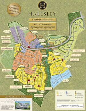 A map of East West Communites' Hallsley development.