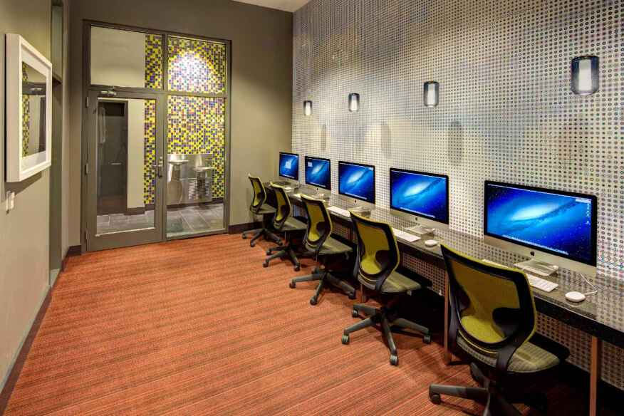 Developers such as American Campus Communities are responding to students' desire forstudy rooms by providing dedicated quiet areas equipped with computers and other amenities, such as this space at Chestnut Square at Drexel University in Philadelphia.