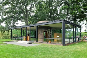 Philip Johnson's 1949 Glass House, in New Canaan, Conn. View of the entrance.