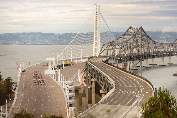 The San Francisco–Oakland Bay Bridge.