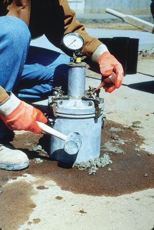 A pressure meter is used in ASTM C-231 Standard Test Method for Air Content of Freshly Mixed Concrete by the Pressure Method.