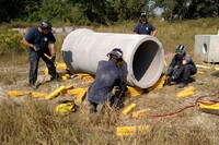 Firefighters Simulate Rescue Techniques with Donated Concrete