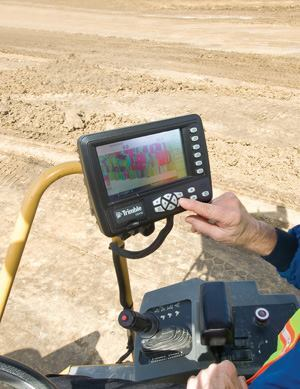 A Trimble technology makes it possible for the operator of a rolling vibratory compactor to see the level of compaction on a special colored screen. The operator knows when specified compaction is reached and where there are soft areas requiring special treatment.
