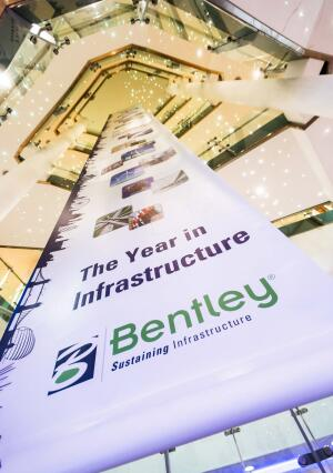 Looking up at the Hilton Metropole, in London, where Bentley Systems' Year in Infrastructure 2013 conference took place.