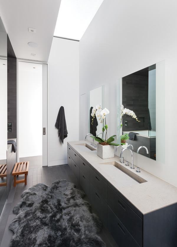The skylit master bath features custom sinks with hardware from Hansgrohe. A tub from MTI Baths is visible on the left.