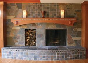 Todd Lange, owner of Lange Design & Build, in Detroit, designed this fireplace for his own family room.
