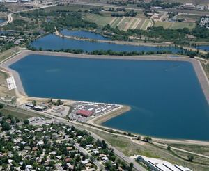 The South Platte Reservoir has the capacity to hold more than 6,400 acre-feet of water and serves as one of the district's major raw water storage sites. Photo: Centennial Water & Sanitation District