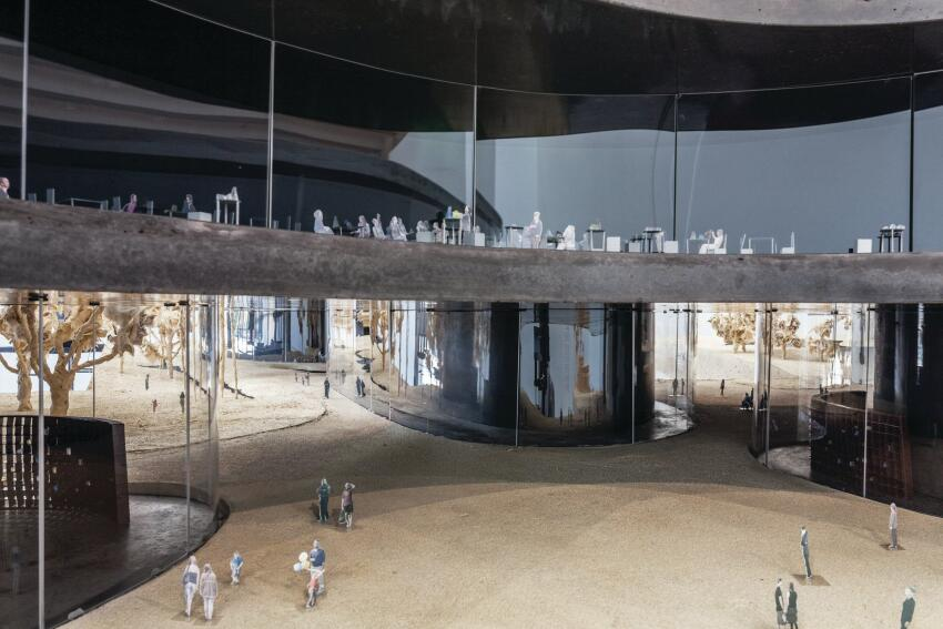 A detail from the interior of Peter Zumthor's model of his porposed new LACMA plan.