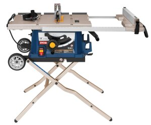 ryobi contractor table saw. ryobi. the 10-inch portable table saw conveniently rolls into place at jobsite and back to truck when finished. features a 3½-inch depth ryobi contractor t