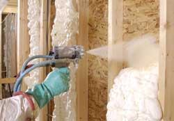 TAKE CONTROL: Spray-foam insulations  can help reduce heating and cooling costs by up to 50 percent. This soy-based product from BioBased Systems is installed in liquid form and expands in seconds.