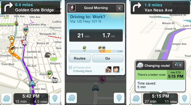 Screenshots from the Waze app.