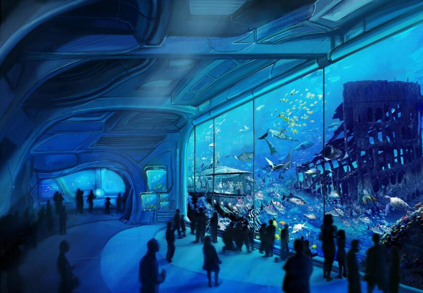 The 231,000-square-foot aquarium will feature two 4D movie theaters, interactive exhibits, and underwater tunnels.