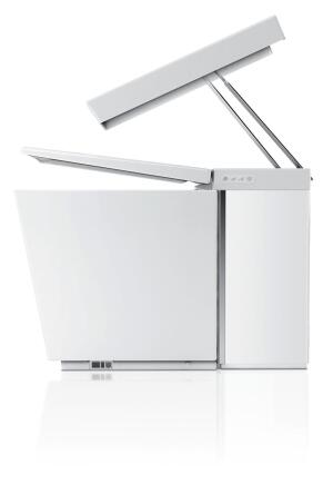 Kohler's dual-flush Numi toilet features a built-in bidet, LCD touchscreen, built-in deodorizer and music system, automatic open and close lid, and heated seat and foot warmer.