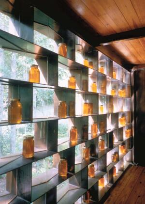comb over  Blackwell prefers to work collaboratively, so he turned to Razorback Awning & Ironworks when he wanted a steel-and-glass grid to serve as abstracted honeycomb for a beekeeper's honey house in North Carolina. The Fayetteville-based company incorporated articulated shelving as a display area and filter for the site's abundant natural light. Razorback Awning & Ironworks, 479.444.0045.