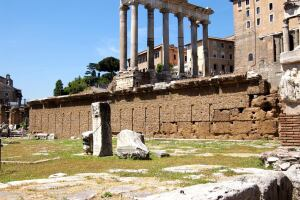 What's left of the Rostra in the Roman Forum.