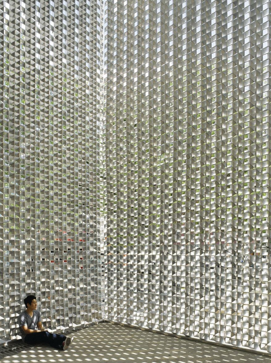 Interior, with view through the flexible mesh.