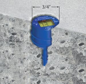 The small, self-contained relative humidity sensor is inserted into a hole drilled into the concrete slab. It can be left in place to provide data simply by touching its surface.