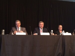 From left, Housing Advisory Group's David Gasson, CohnReznick's Bob Moss, and Enterprise Community Partners' Ali Solis update AHF Live attendees last week in Chicago about the latest from Capitol Hill.