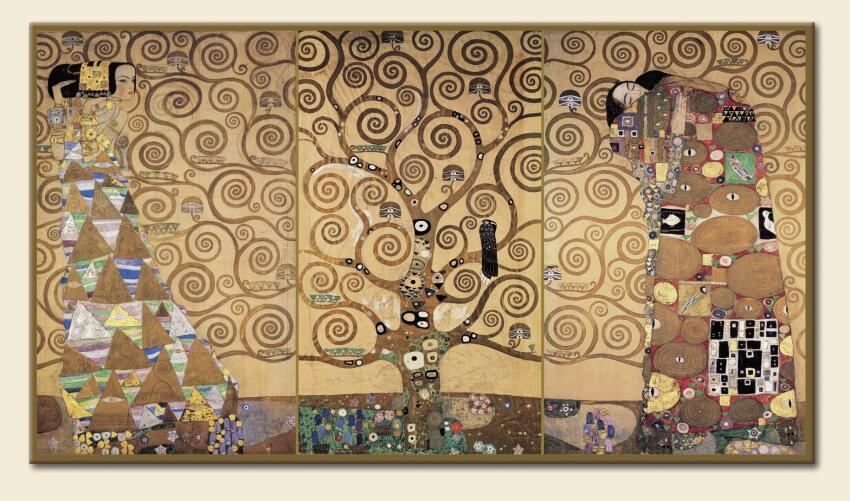 One of the 20-foot murals that Gustav Klimt created for the dining room.