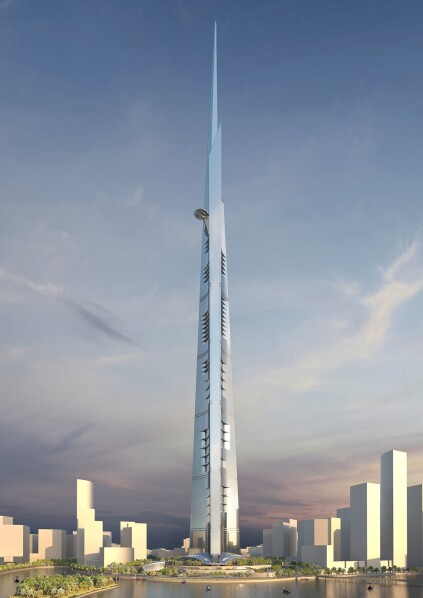 The Kingdom Tower in the context of the city skyline.