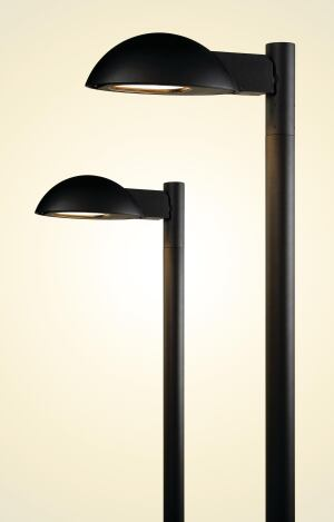 Athens, an architectural-grade outdoor pole-mounted luminaire with full cutoff performance, is the newest offering from HessAmerica. It is available in two sizes (one for pedestrian-scale applications and one for area lighting) with pole heights scaled accordingly. The pedestrian-scale model can accommodate 70W, 100W, or 150W ceramic metal halide lamps, while the larger version offers 150W or 250W ceramic metal halide lamping options. Both are available in single, twin, or bi-level mounting arrangements, and the housing and lens frame for both are die-cast aluminum. All hardware is stainless steel. Straight or tapered poles are available in aluminum or steel, and toolless access allows for easy maintenance. hessamerica.com