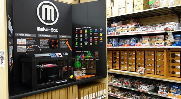MakerBot and Home Depot are piloting the sale of the 3D-printer maker's Replicator series in 12 stores across three markets.